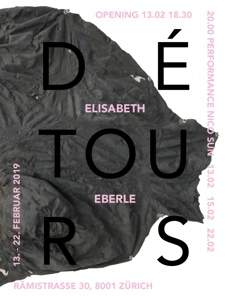 Exhibition DÉTOURS by contemporary swiss artist Elisabeth Eberle, curated by Kristina Grigorjeva and Marco Meuli